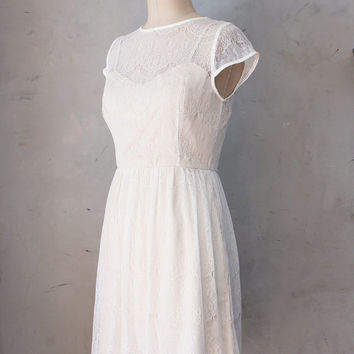 50% OFF SALE // Pirouette Ivory - Cream white lace overlay dress / cap sleeves / bridal / sweetheart illusion neckline / wedding / cocktail