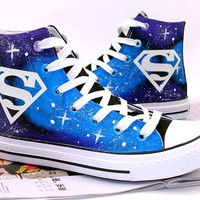 superman shoes Hand Painted Shoes canvas shoes sneakers Hand Painted Shoes canvas shoes sneaker shoes high top shoes = 1946590404