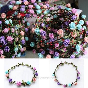 Women Sweet Boho Style Bride Bridesmaid Floral Headband Flower Hairband Festival Wedding Beach Randomly Color