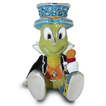 Disney Parks Jiminy Cricket Figurine by Arribas Swarovski Jeweled Mini New with Box