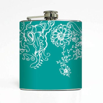 Flowery Designer 6 Oz Liquor Stainless Steel Hip Flask Weddings Groomsmen Bridesmaids Gift Whiskey Flask
