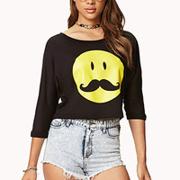 Mustache Face Crop Top
