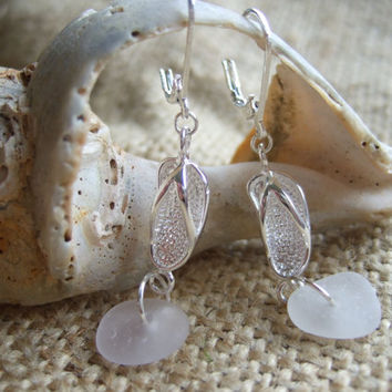 Scottish sea glass in white with silver plated flip flops - earrings. beach earrings, summer earrings, flip flop jewelry, sea glass earrings