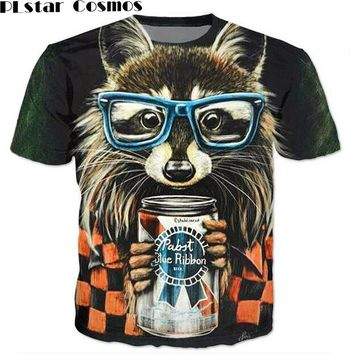PLstar Cosmos  Raccoon T-shirt 3d animal print cute raccoon wear glasses t shirt vibrant tshirt women men summer t-shirt tops