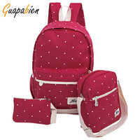 Guapabien 3pcs 1 Set Casual Korean Dot Print Canvas Backpack Girl Teenage School Bags Preppy Style Women Travel Bag Set Rucksack