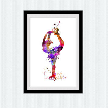 Ice skating watercolor print Figure skating poster Figure skating colorful illustration Home decoration Kids room decor Christmas gift W484