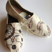 Dream catchers -all natural- hand painted on TOMS shoes-made to order