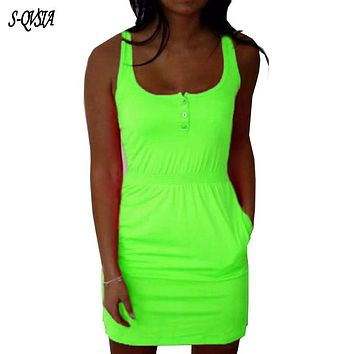 2017 New Neon Color Women Summer Dress Button Design Casual Bodycon Sexy Dresses Sleeveless Elastic Waist Pocket Dress Vestidos