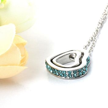 Double Heart Crystal Rhinestone Eternal Love Silver Necklace