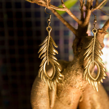 Bronze peacock feather dangle earrings