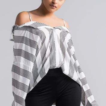 AKIRA Off Shoulder Button Up Striped Hi Lo Blouse in Black White