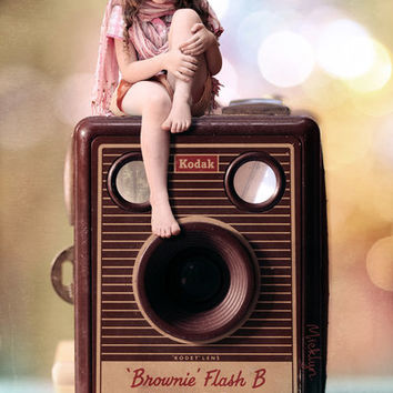 Smile for the Camera - vintage Kodak Brownie camera with miniature girl. Art Print by micklyn | Society6