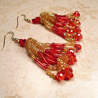 Red and Gold Color Earrings Seed Beaded Beadwork with Faceted Crystal Beads Dangle Tassel Boho Womens Christmas Jewelry Holiday Gold Plated