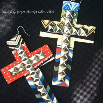 Tribal Print Studded Cross Earrings