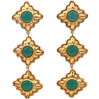 CHANEL long Dangle Earrings with Poured Green Glass