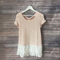 Pink Lace Bottom Knit Tee