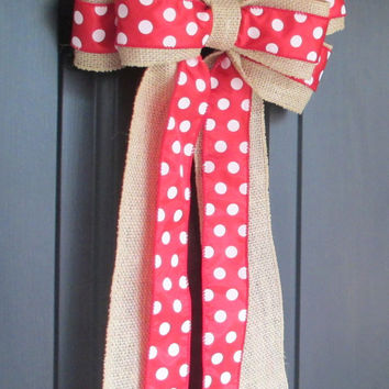 Burlap & Red White Polka Dot Bow, DIY Wreath Change Out, Wedding Pew, Home Door Floral, Fall Winter Christmas Holiday, Rustic Shabby Chic