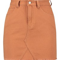Petite Raw Edge Denim Mini Skirt | Boohoo
