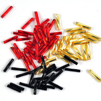 Twisted Bugle Beads Loose - Tube - Barrel - Red Black or Gold - 7mm - Jewellery and Craft Supplies - 25 pcs - DeeDeeSupplies