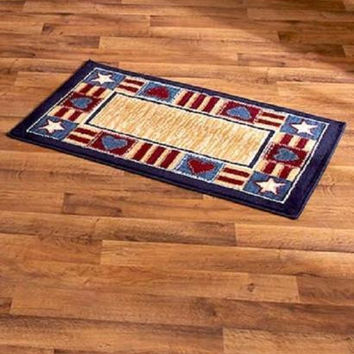 "Accent Rug Americana Patriotic Cabin Lodge Country Primitive Rustic 22"" x 36"""