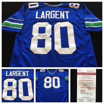 LMFON Steve Largent Signed Autographed Seattle Seahawks Football Jersey (JSA COA)