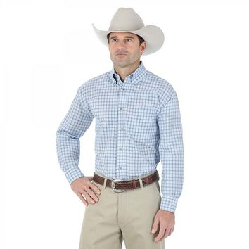 Wrangler Men's Riata Western Blue Plaid Long Sleeve Shirt - MR2063A