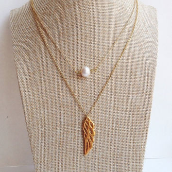 Angel Wing Necklace. Gold Wing Necklace. Initial Wing Necklace. Angel Baby. Delicate Layered Jewelry