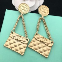 CHANEL New fashion round square long section earrings women Golden