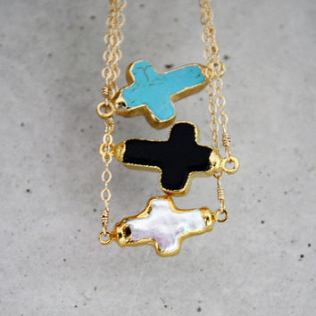 24k Gold Rimmed Sideways Cross Necklace - 14k Gold Filled Chain - Turquoise