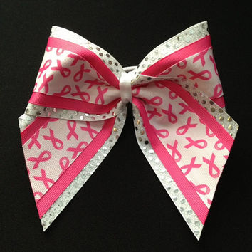 Breast Cancer Awareness Cheerleader Sequin Layered Hair Bow White Hot Pink