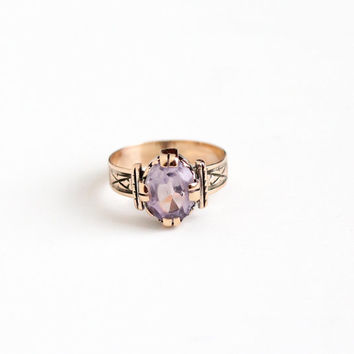 Antique Victorian 10k Rose Gold Rose de France Amethyst Ring - 1890s Vintage Size 5 Purple 1+ Carat Gem February Birthstone Fine Jewelry