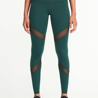 Mid-Rise Mesh-Panel Compression Leggings for Women | Old Navy