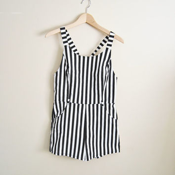Blurred Lines - Vintage Black & White Stripped Overall Shorts Summer Trend