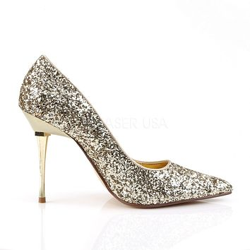 "Appeal 20G Gold Glitter Pointy Toe Pumps 4"" High Heel Shoes"
