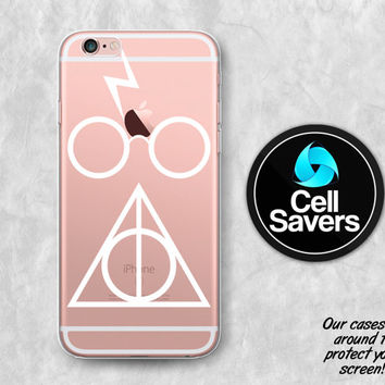 Harry Potter Clear iPhone 6s Case iPhone 6 Case iPhone 6 Plus iPhone 6s Plus iPhone 5 Deathly Hallows Harry Potter Glasses Lightning Bolt