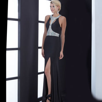 Black Flowing Beaded Bodice Keyhole Back Gown
