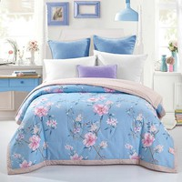 Papa&Mima Quilting Comforter Summer Quilt Twin Queen Size Blankets Plaid 100% Cotton Fabric print pink flowers