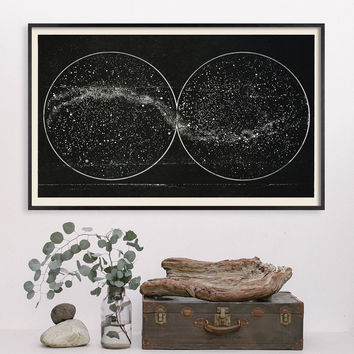 Black Milky Way with Double Hemisphere Constellation from 1920