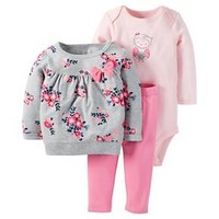 Just One You™Made by Carter's® Baby Girls' 3 Piece Floral Top/Solid Legging Set - Grey/Pink