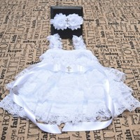 Whit vintage lace and chiffon Christening dress and shabby chic headband set, embellished with satin sash and rhinestone cross.