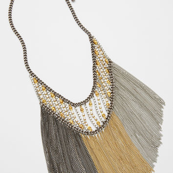 statement necklace with tricolored chain fringe