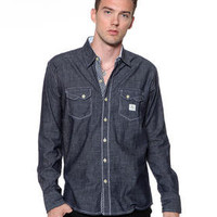 DJPremium.com - Men - Shop by Brand - DJP OUTLET - Shirts - Denim Shirt w/ Rolled Gingham Cuff