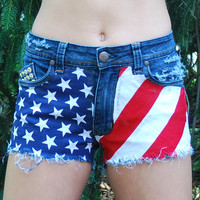 Studded American Flag Shorts