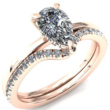 Carmeli Pear Moissanite 3 Claw Prong Micro Pave Diamond Rail Engagement Ring