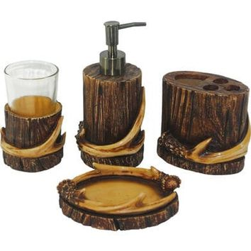HiEnd Accent Brown Antler Four-Piece Bathroom Set