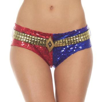 Harley Quinn Sequins Underwear Shorts Lined Pants Suicide Squad Cosplay Costume UNDERWEAR