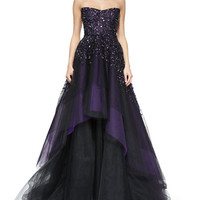 Monique Lhuillier Strapless Degrade Embroidered Ball Gown, Plum
