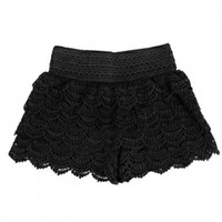 LOCOMO Women Girl Crochet Tiered Short Split Divided Skirt S-M Black FFT087BLK