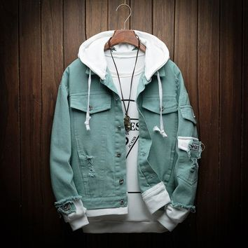 New Hooded Denim Jacket Men Fashion Fake Two Pieces Of Streetwear Bomber Jacket and Coat Man Cowboy Clothes Male M-3XL