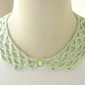Mint  Green Peter pan collar Crochet collar by VeraJayne on Etsy